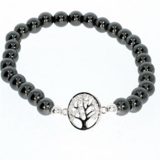 Hematiit käevõru hõbedase elupuu sümboliga