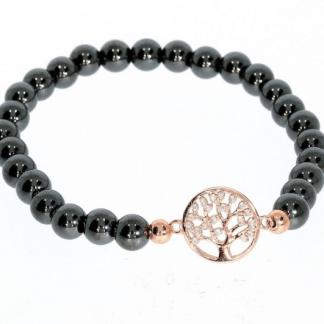 Hematiit käevõru kuldse elupuu sümboliga