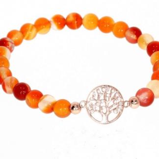 Karneool käevõru kuldse elupuu sümboliga