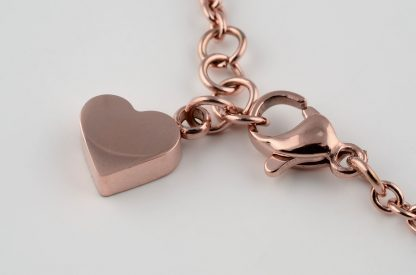 Roostevabast terasest südametega käevõru roosa kuld