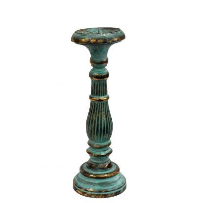 Albesia puidust küünlajalg - türkiis
