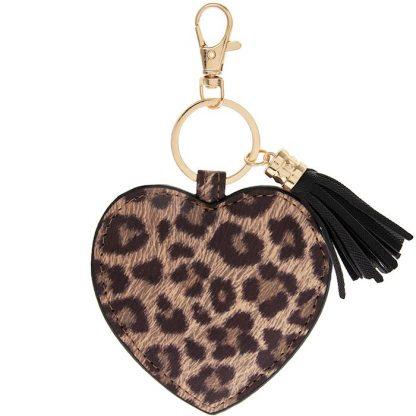 Südamekujuline võtmehoidja leopardi mustriga